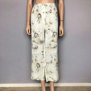 Chico's Floral Print Straight Leg Crop Pants Linen
